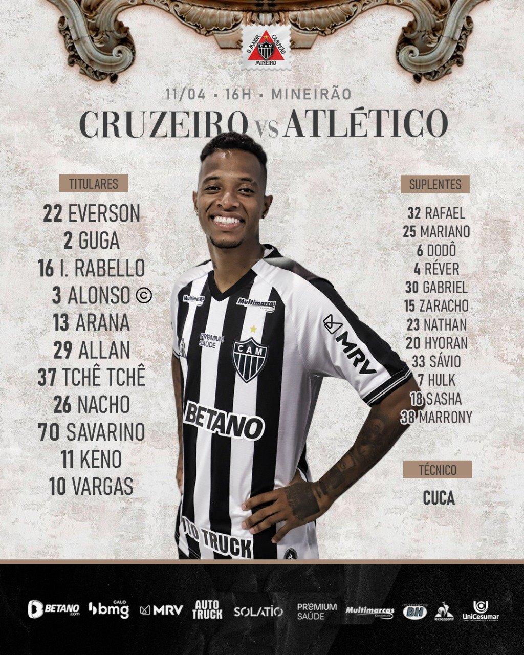 Espora 13 - Atlético - Galo - Atlético MG - Escalação do Atlético - Cruzeiro x Atlético - #CRUxCAM