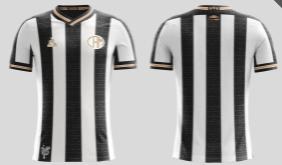 Camisa que mostra escrita de trechos do hino do clube, em detalhes dourados nas mangas e no escudo e logo da Le Coq.